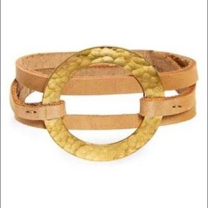 me to we leather brass wrap bracelet